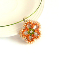 Beadwork flower pendant with pumpkin-green-cream colors, lovely little flower shaped beaded pendant for everyday use, good gift