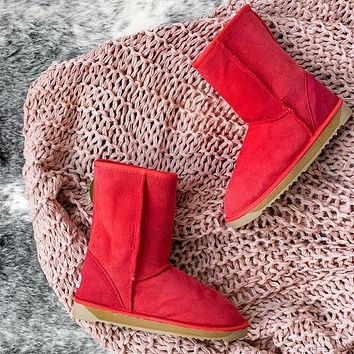 UGG tide brand winter warm plus velvet wild flat boots in the snow boots Red