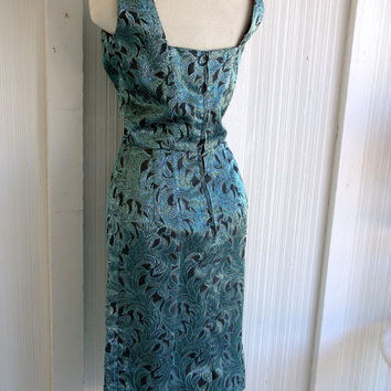 Handmade Printed Lurex Wiggle Dress Sparkly Vintage 1960sTeal Black Fitted Glam Hollywood Mid Century B36