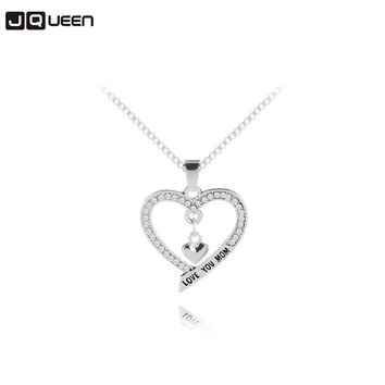 Mother's Day Necklace Love You Mom Letter Crystal Rhinestone Heart