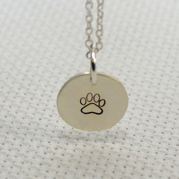 Dainty silver charm necklace , paw print necklace , dainty paw print necklace