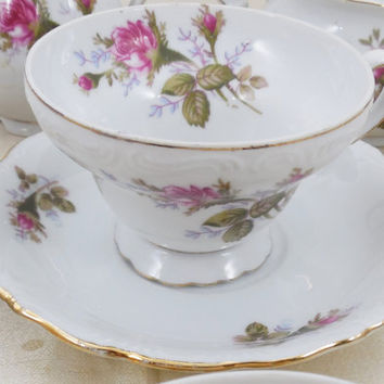 "Vintage Moss Rose Footed Teacup and Saucer 2 3/4"", Vintage Made in Japan China Cup and Saucer, Teacup and Saucer Only"