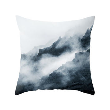 Foggy Mountain Pillow, Landscape Pillow Covers, Fog Nature Photo, Cushion Cover, Decorative Throw Pillow, Winter, Living Room, Bedroom Decor