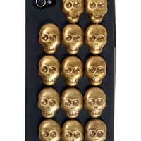 GYPSY WARRIOR - Brass Skull Studded Black iPhone Case