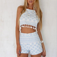 Fringed Print Casual Two Piece Set