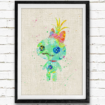 Stitch Scrump Doll Watercolor Print, Disney Baby Girl Nursery Decor, Wall Art, Home Decor, Gift Idea, Not Framed, Buy 2 Get 1 Free!