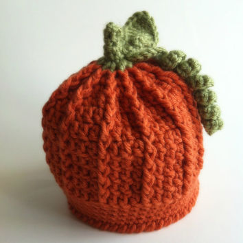 Crochet Baby Pumpkin Hat, Newborn, Halloween, Photo Prop