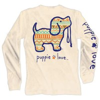 Aztec Pup Long Sleeve Tee in Sand by Puppie Love