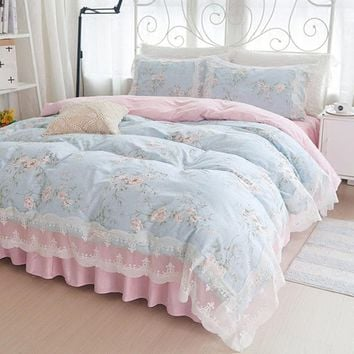 New Korean garden Floral bedding set Cotton Bed sheet Princess lace duvet cover wedding decoration bedding elegant bedspread