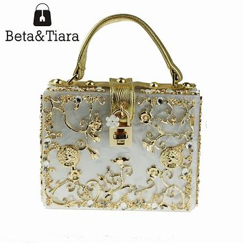 Fashion Women Evening Bag White Acrylic Clutch Hollow Gold Flower Ballot Lock Prom Luxury Handbag Party Purse Shoulder Bag