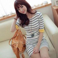 Classic Striped Pattern Half Sleeves Slimmed One Piece Dress 3 Colors