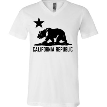 California Flag Oversize Black Silhouette Asst Colors V-Neck