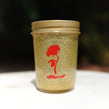 Tinted Glitter Mason Jar- Disney Character Belle from Beauty and the Beast Inspired - Half Pint