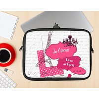 The Paris Pink Illustration Ink-Fuzed NeoPrene MacBook Laptop Sleeve