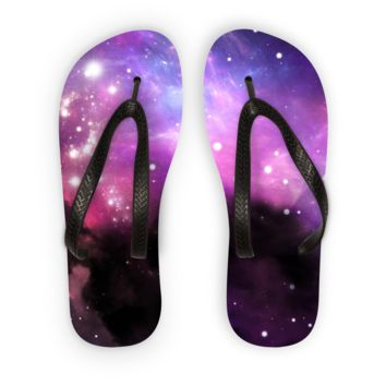 Black Smoky Galaxy Flip Flops