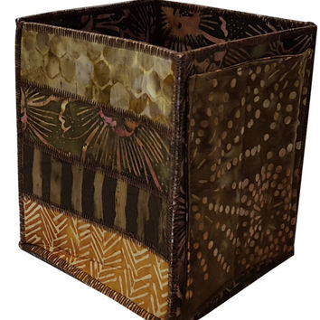 Home Storage Organizer Pencil Box in Brown Batiks