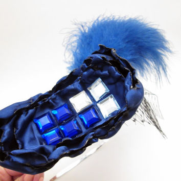 Tardis Inspired Fascinator (4.5 Inch) - Whimsical Docor Who Themed Blue Steampunk Wedding Headpiece - Bridal Tiara headband