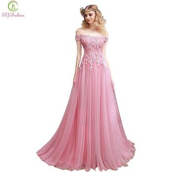 2017 SSYFashion New Sweet Pink Lace Embroidery Evening Dress The Bride Slim Sexy Sweep Train Long Prom Dress Custom Party Gown