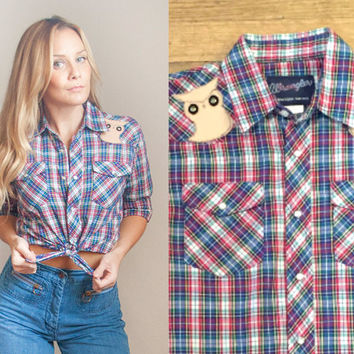 1970s Plaid Wrangler Pearl Snap Shirt with Owl Patches - Small | Lightweight Red and Blue Plaid Western Button Down Shirt Blouse Unisex S XS