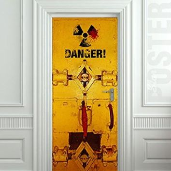 "Wall Door STICKER Danger armored entrance poster, mural, decole, film 30x79"" (77x200 Cm)"