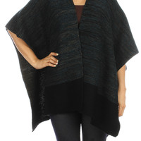 Blue- Knitted Ruana Poncho