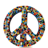 Mosaic Peace Sign, Rainbow Colors