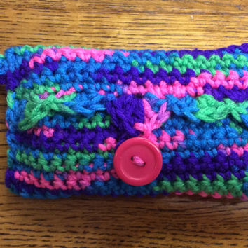 Tissue holder, purse tissue, pocket tissue, hand crochet, gift idea, party favor, game prize, key ring, glove box tissue, handmade,key chain