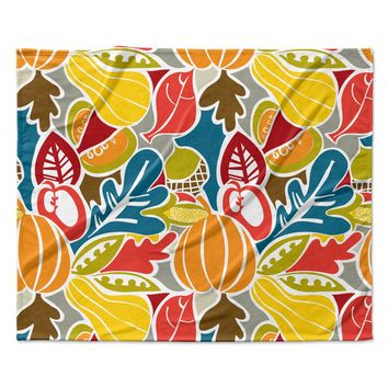 "Agnes Schugardt ""Fall Harvest"" Multicolor Food Fleece Throw Blanket"