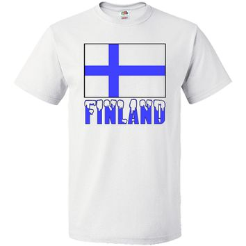 "Fun design shows the Finnish Flag with the word or name ""FINLAND"" below, in snow capped letters. Great for your favorite Finn who wants to share love and pride in their ethnic heritage, ancestry and culture. Terrific for travelers wanting to recall a trip,"