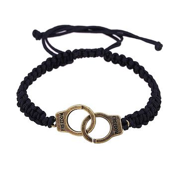 New Fashion Women Bracelet Punk Braided Handcuffs Gift Fine Jewelry