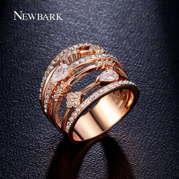 NEWBARK Rings For Women Vintage Multilayer Hollow Wedding Rings Jewelry Rose Gold Color Cubic Zirconia Stone Anillos Mujer
