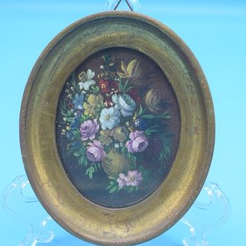 Italy Floral Gold Framed Picture Vintage Small Oval Hanging Italian Print Antique Florentine Plaques Reproduction Gift for Her Italian Art