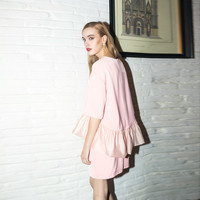 Pink Casual Flounce Top And Mini Skirt