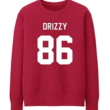 DRIZZY 86 DRAKE OVO HOTLINE BLING HIP HOP RAP GAME OLD SKOOL WOMENS MAG SWEATSHIRT - Red