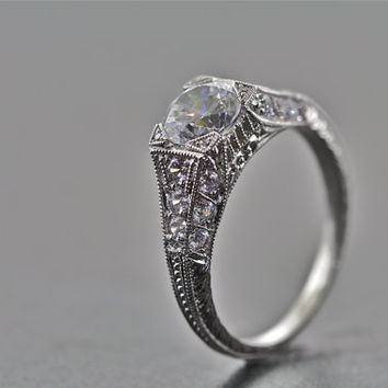 14kt White Gold Art Deco Design Hand Engraved Engagement Ring with 1ct White Sapphire center