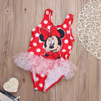 Children Baby Girls Kids Swimwear Two Pieces Cartoon Minnies Toddler Mouse Beachwear Swimwear Swimsuit 2pcs Tankinis Bikini