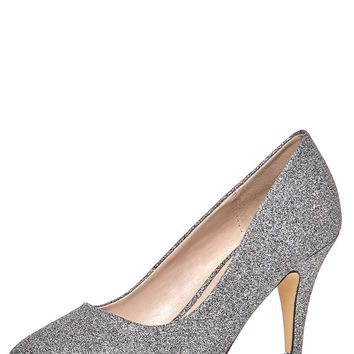 Pewter Glitter 'Claudia' Court Shoes | Dorothyperkins