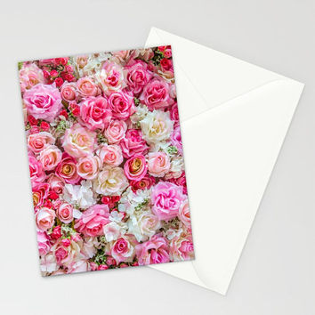 Pink Flowers Stationary Set, Thank You Cards, Pink Note Cards, Floral Stationary Cards, Pink Red Roses Stationary Cards, Romantic Stationary