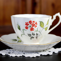 DAMAGED Queen Anne Tea Cup and Saucer - Beautiful Octagonal Cup 12192