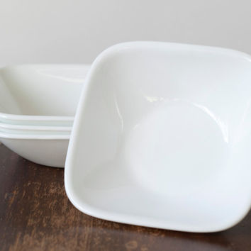 Vintage Corelle Square Bowls Set of 4 by meghanica on Etsy