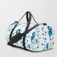 seahorses pattern in blue Duffle Bag by vanessagf