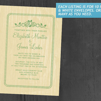 Yellow & Green Vintage Barn Wood Wedding Invitations | Invites | Invitation Cards