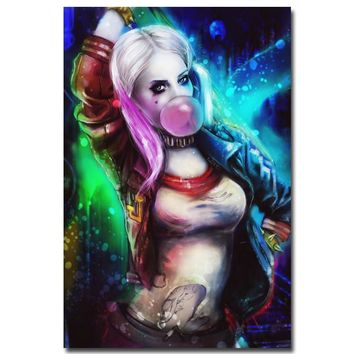 Harley Quinn - Suicide Squad Superheroes Art Silk Fabric Poster Canvas Print 13x20 24x36 inch Movie Picture for Wall Decor 004