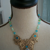 Gold Filigree Bib Necklace - GUINEVERE - Vintage Inspired Filigree Statement Necklace with Blue and Green Crystals
