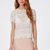 Missguided - Scallop Lace Shell Top White