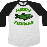 Funny Christmas Gifts For Fishermen Holiday Outfits Fishing Shirt Xmas T Shirt Merry Fishmas X-Mas 3/4 Sleeve Baseball Raglan Tee - SA691