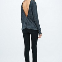 Sparkle & Fade V-Back Turtleneck Jumper in Dark Grey - Urban Outfitters