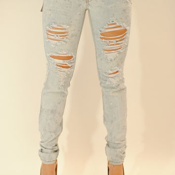 Light wash distressed silver paint spots jeans
