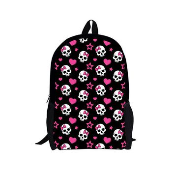 Cool Backpack school FORUDESIGNS Black Printing Skull Backpack for Teen Girls Cool Primary Student Kids Bagpack Personalized Children Rucksack AT_52_3