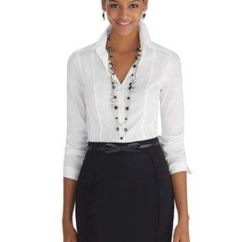 White House | Black Market Iconic Coquette Button Front White Shirt